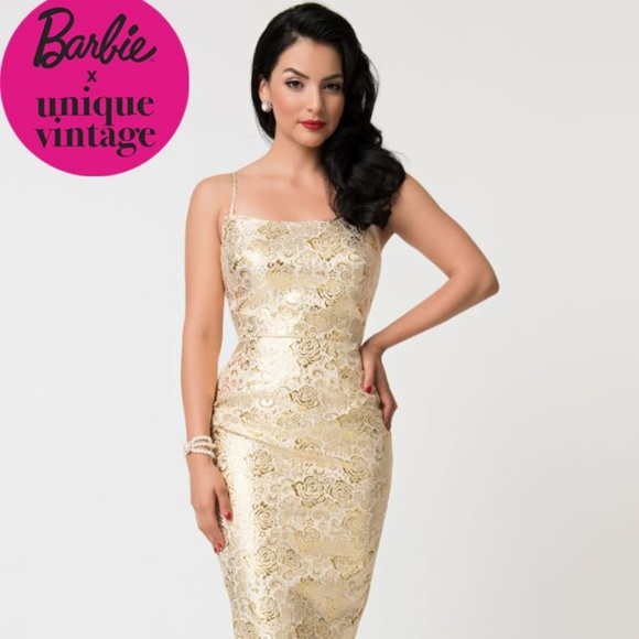 Barbie Unique Vintage Golden Floral Dress Boutique